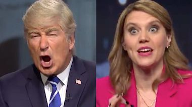 Kate McKinnon plays 'surprise bad---' Savannah Guthrie during this week's 'SNL' sketch about Trump town hall