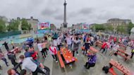 English Soccer Fans Cheer to Team's Win Against Germany at Trafalgar Square