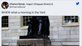 哈佛雕像遭破壞 底座塗鴉「魔鬼崇拜」