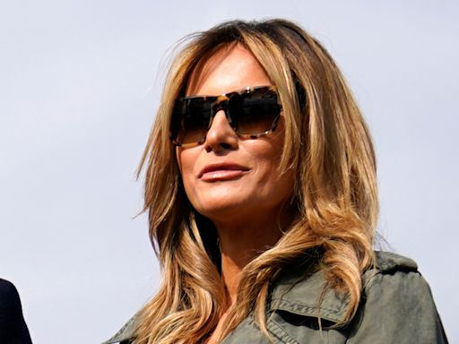 Melania Trump Styles a Military-Inspired Coat With Corduroy Pumps for the Campaign Trail