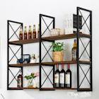 復古實木牆上書架置物架鐵藝壁掛一字隔板客廳臥室牆壁裝飾層架 ATF 618促銷