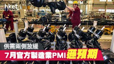 內地7月官方製造業PMI遜預期 供需兩側放緩 - 香港經濟日報 - 中國頻道 - 經濟脈搏