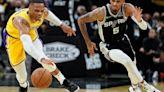 Davis, Westbrook lead Lakers by Spurs minus James, 125-121