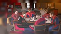 All Live-Action Spider-Man (Plus Animated) Unite In Fan Art Featuring Avengers Shawarma Scene