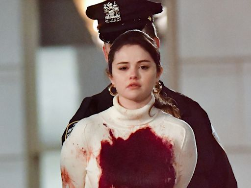 Selena Gomez Is Handcuffed and Covered in Fake Blood on the Set of Her New Show