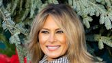 Melania Trump Preps the White House for Christmas in a Metallic Top & Pencil Skirt