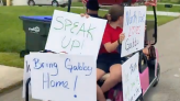 Gabby Petito protesters camp outside fiance's home & chant 'where's Gabby'