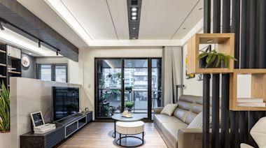 精準到位的 18 坪單身宅設計!獨享陽台的高腳吧台、玄關櫃兼具穿鞋椅