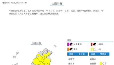 新北等14縣市發布大雨特報 午後雷雨彈又開炸