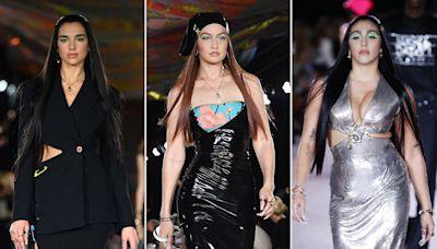 Dua Lipa Makes Runway Debut During Milan Fashion Week Alongside Gigi Hadid and Lourdes Leon