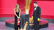 Jennifer Aniston & Jimmy Kimmel Set Fire To 2020 Emmys Envelope Onstage