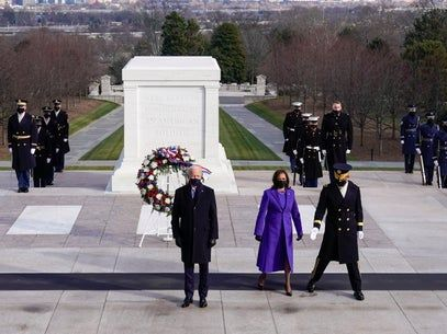 Biden and Harris joined by Bushes, Clintons, and Obamas to lay wreath at the Tomb of the Unknown Soldier