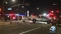 5 hospitalized after possible street racing crash in Downey