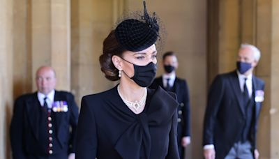 Kate Middleton Honors Queen's 73-Year Marriage With Diamond Necklace At Prince Philip's Funeral