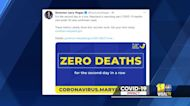 Zero COVID-19 daily deaths reported for second day in a row