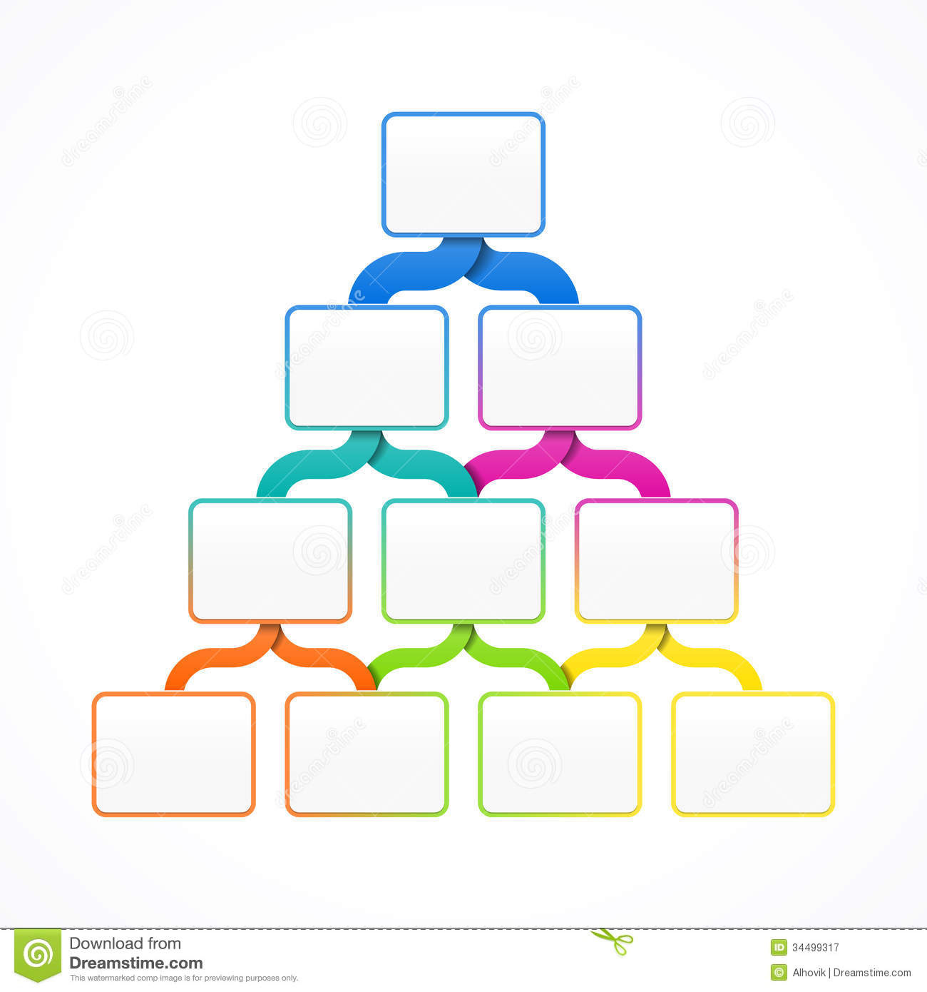 Pyramid hierarchy template for design, infographics or presentation.