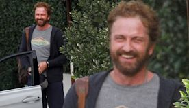 Gerard Butler lights up with big laughs during lunch with some pals