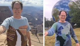 Man Hand-Knits Sweaters of Places and Then Wears Them in Front of Their Exact Locations