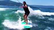 Kim Kardashian WIPES OUT While Wakesurfing on Family Vacay