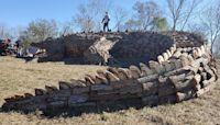 A 78-foot alligator bonfire was just built on a Mississippi River levee
