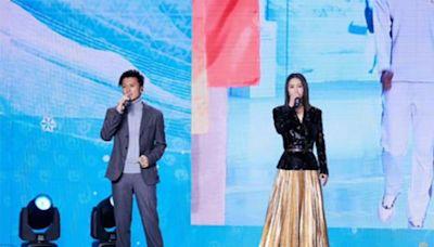 謝霆鋒譚維維首次合作,獻唱冬奧會主題歌,霍汶希曬現場照
