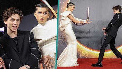 Zendaya & Timothée Chalamet Share Playful Moment On 'Dune' Red Carpet In London