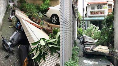 獨家|台中強風吹倒民宅圍牆 刷一整排機車!災情影片曝光 | 蘋果新聞網 | 蘋果日報