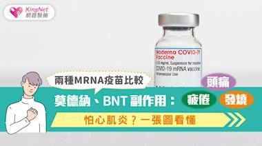 兩種mRNA疫苗比較丨莫德納、BNT副作用:頭痛、疲倦、發燒,怕心肌炎?一張圖看懂|高端疫苗|KingNet國家網路醫藥|Second Opinion