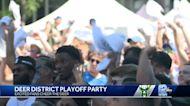 Fans celebrate Bucks win outside Fiserv Forum
