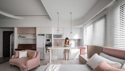 現代風粉色美宅,水磨石中島和洞洞板玄關實現女孩全部夢想!