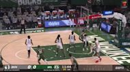 Giannis Antetokounmpo with an alley oop vs the Brooklyn Nets
