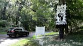 Black Lives Matter sign, put up by Chappaqua Quakers, has been repeatedly vandalized