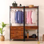 D&T德泰傢俱 格萊斯積層木工業風5.2尺中抽+三抽多功能衣櫃-160x44x196 cm