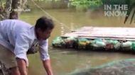 用廢棄的塑膠瓶打造出的漂筏~