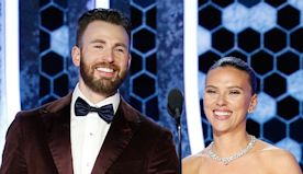 Captain to the Rescue! Chris Evans Helps Scarlett Johansson With Golden Globes Dress