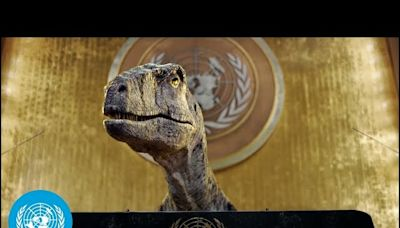 The United Nations (in dinosaur form) is asking leaders to address climate change