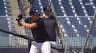 DJ LeMahieu and Gleyber Torres work on their double play ball in spring training