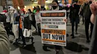Anti-Trump Protesters March in New York City as US Election Results Roll In