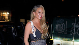 Chrissy Teigen Stepped Out in a Bra and Chanel Suspenders