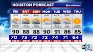 Rain chance increases this weekend, fall front expected next week