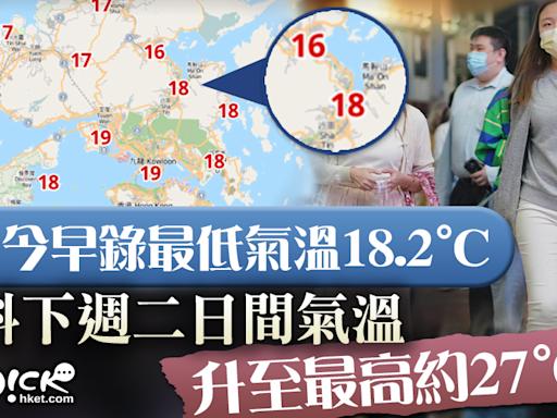 【天氣轉涼】今早錄最低氣溫約18度 料下周二氣溫回升至最高約27度 - 香港經濟日報 - TOPick - 新聞 - 社會