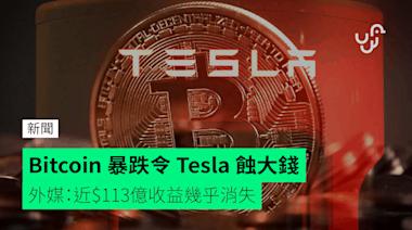 Bitcoin 暴跌令 Tesla 蝕大錢 外媒:近$113億收益幾乎消失