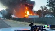 Storage units burn in North Highlands hazmat fire