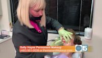Sally Hayes shows how she applies permanent makeup to lips