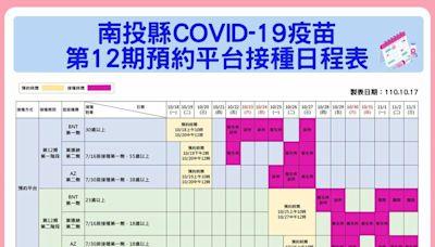第12期疫苗接種複雜 南投這張接種日程表一目瞭然