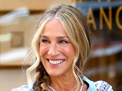 Sarah Jessica Parker Slips Into Sparkly Platforms & Boho-Chic Dress for 'And Just Like That…'