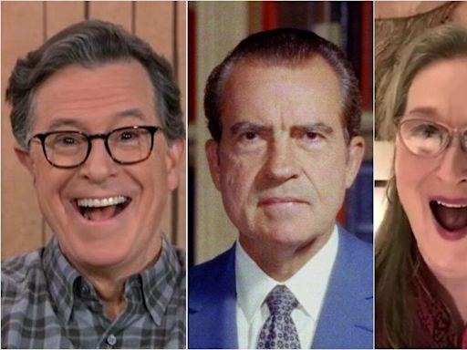 Meryl Streep, Stephen Colbert Stun Each Other With Strange Stories About Nixon