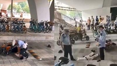 中國版「不能呼吸」 廣州警膝壓司機致癱軟(影片)