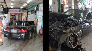 BMW敞篷車「闖紅燈+撞進便當店」釀5傷!警查出肇事原因頻搖頭