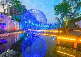 新莊中港大排「光雕海」 魔幻地球與湧泉成新打卡點